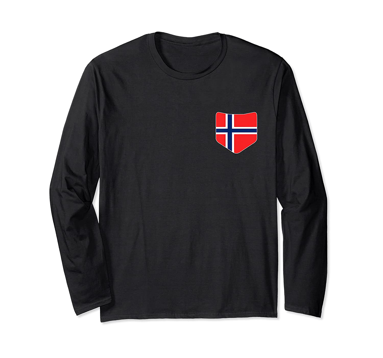 Norway Flag T Shirt With Printed Norwegian Flag Pocket Long Sleeve T-shirt