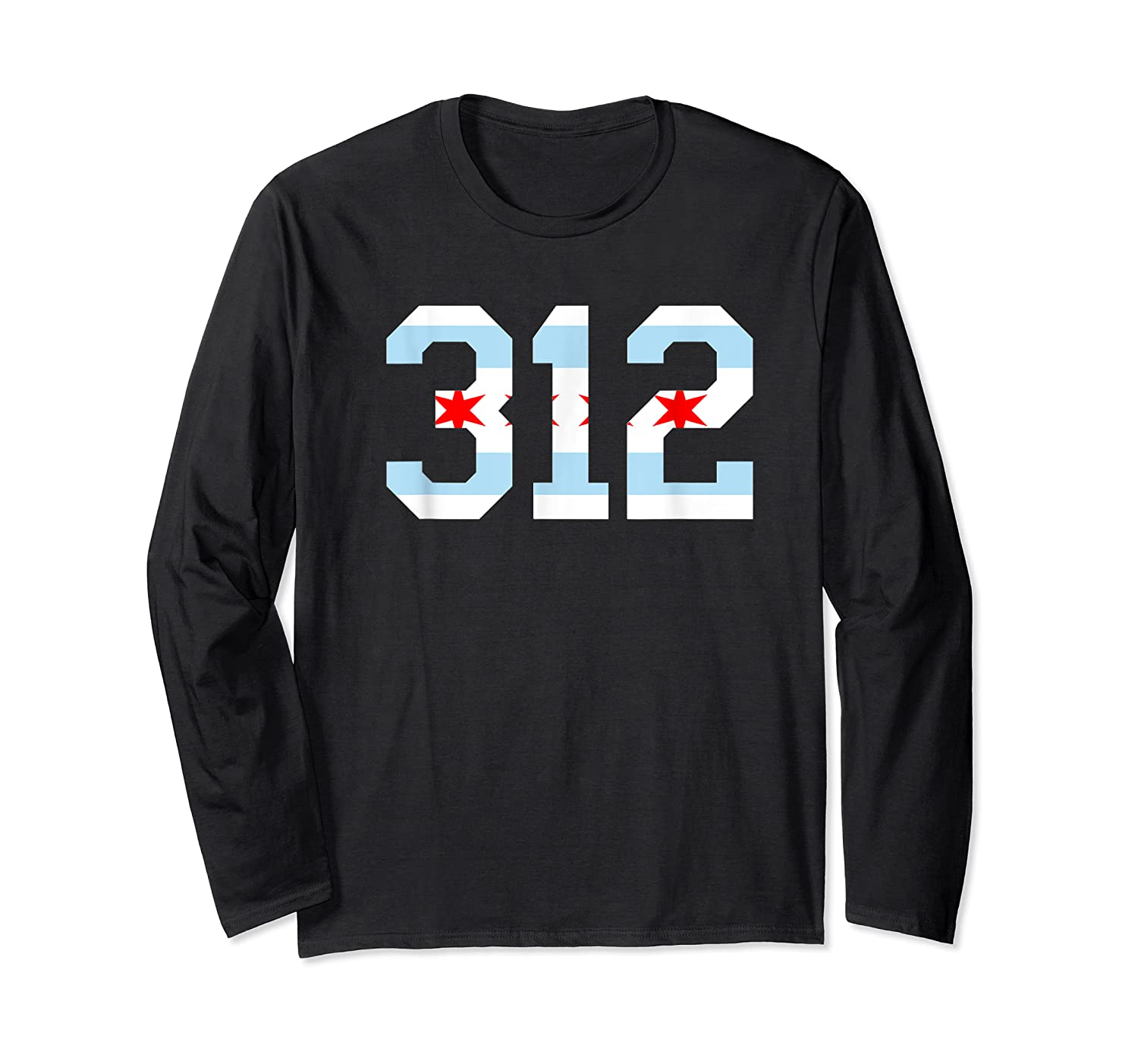 312 Chicago Flag Area Code City Pride T Shirt Long Sleeve T-shirt