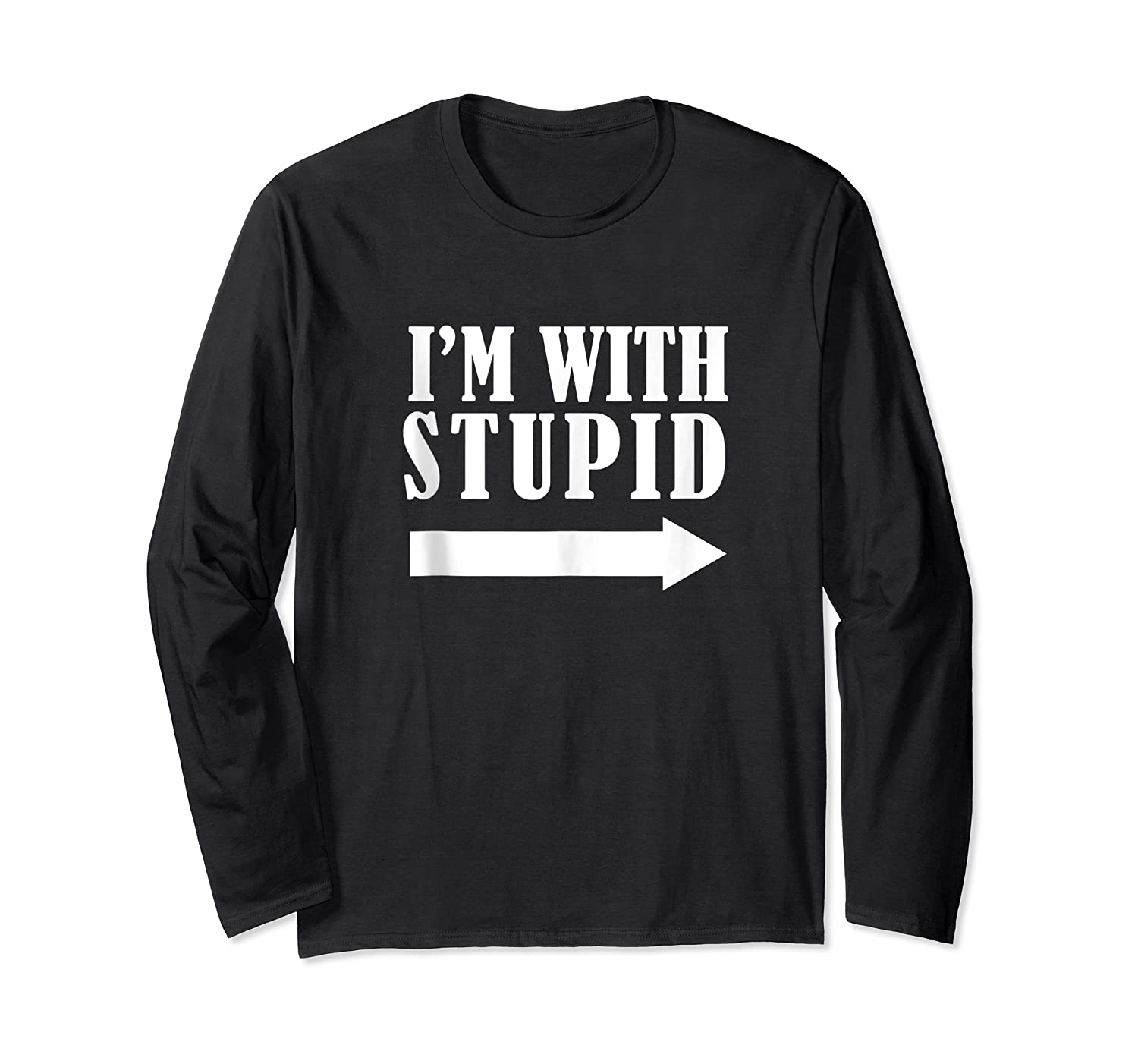 Funny I'm With Stupid Blue Funny Christmas Gift Shirts Long Sleeve T-shirt