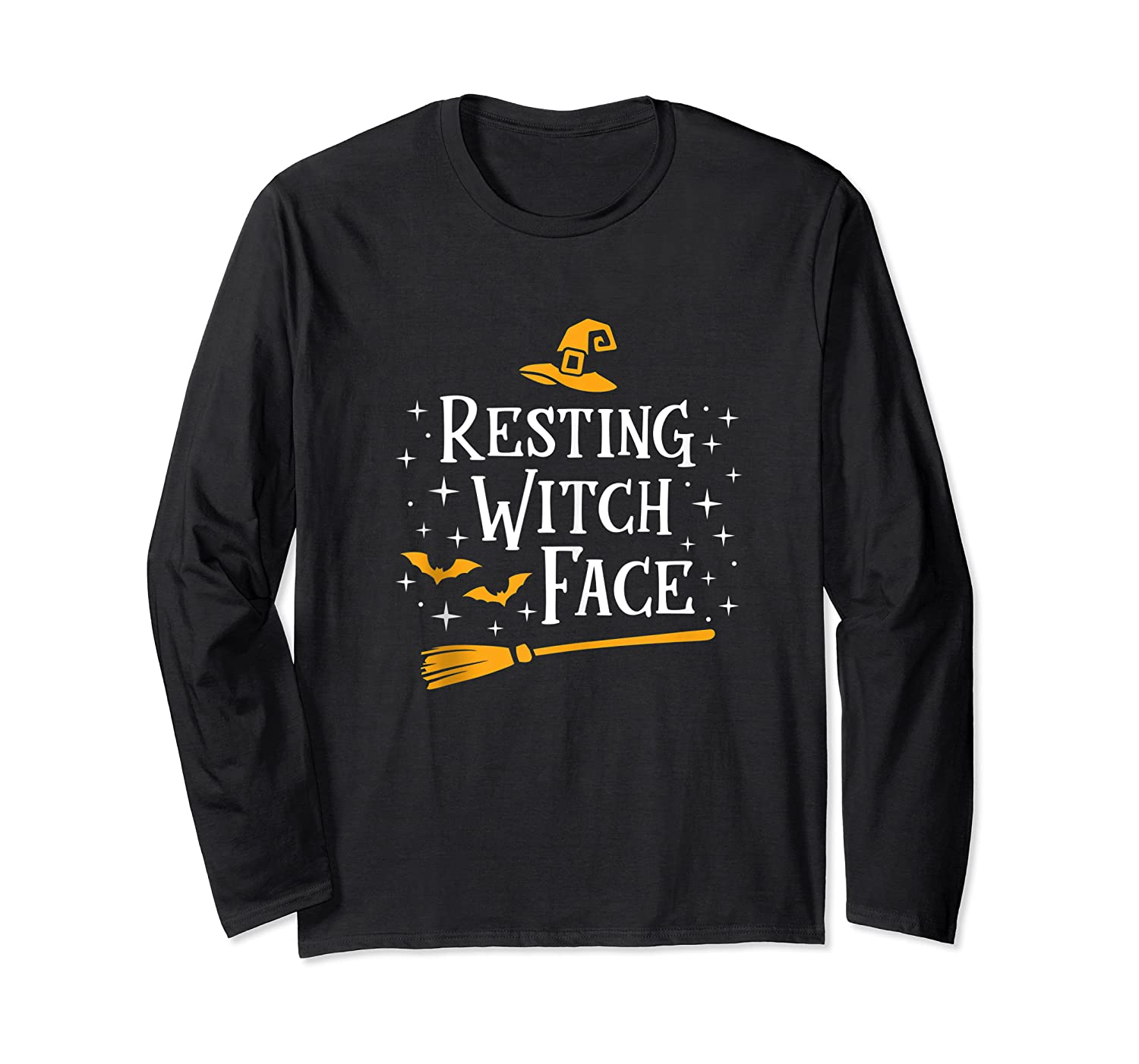 Resting Witch Face Shirt Broomstick Funny Spooky Party Tank Top Long Sleeve T-shirt