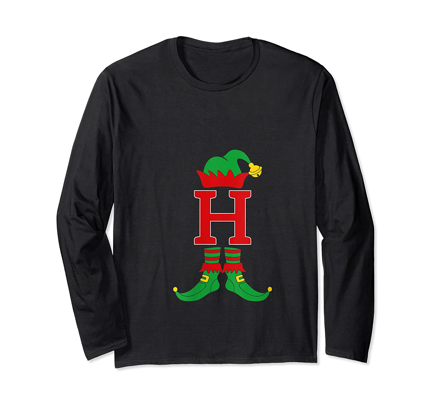 Elf Initial H Matching Family Group Christmas Holiday Gift T-shirt Long Sleeve T-shirt