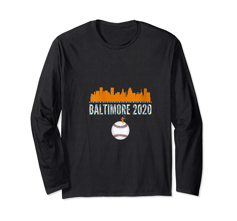 Baltimore Oriole Baseball 2020 Skyline Colorful Font Shirts Long Sleeve T-shirt