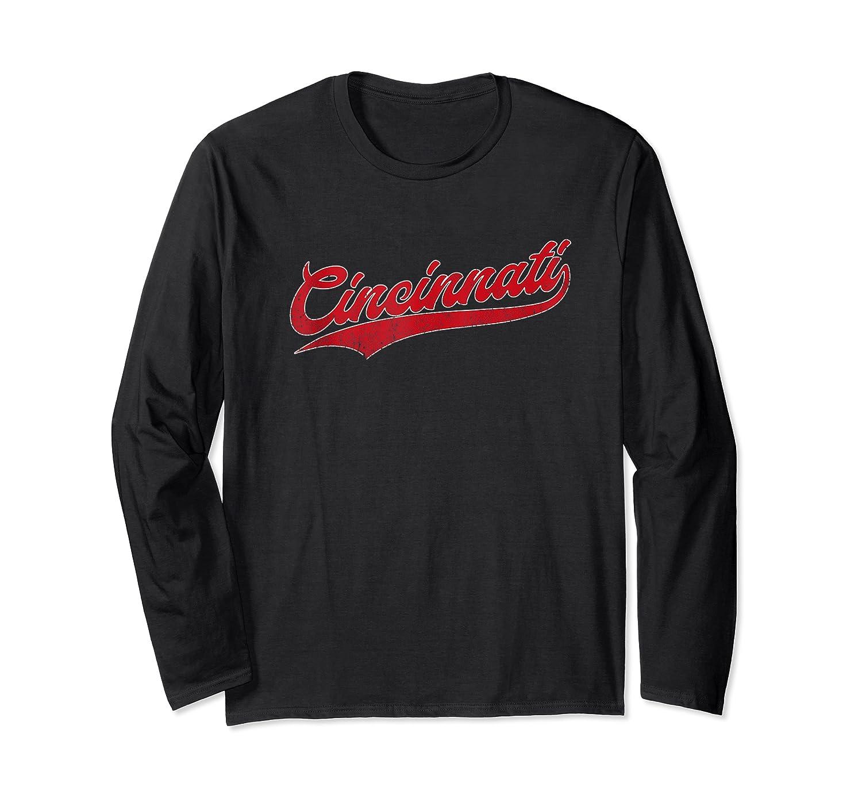 Cincinnati Baseball Ohio Pride Vintage Retro Red Gift Shirts Long Sleeve T-shirt