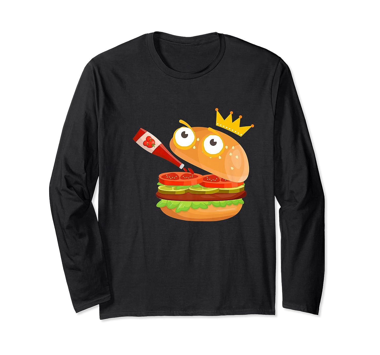 King Hamburger Drinking Tomato Sauce Funny Cartoon Tshirt Long Sleeve T-shirt