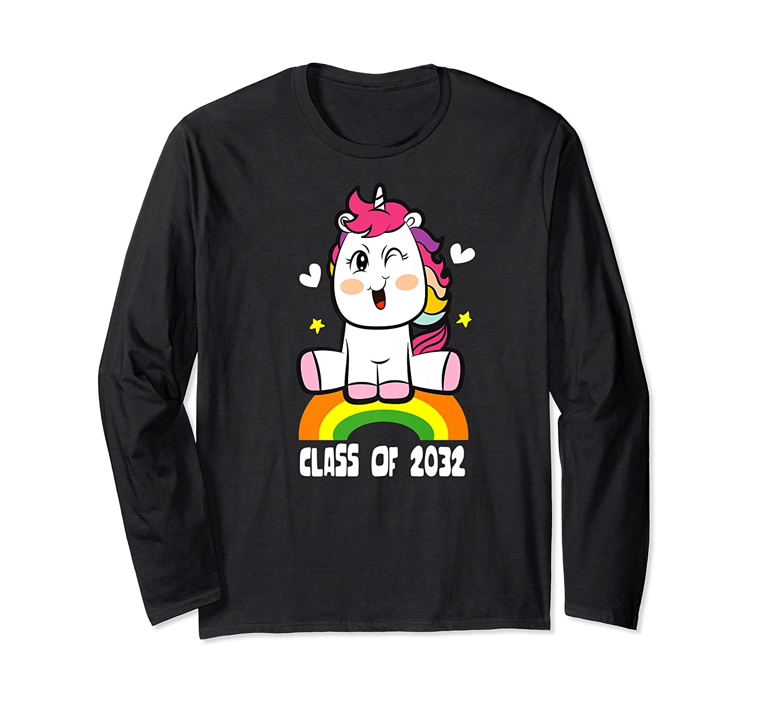 Unicorn First Day Of School Class Of 2032 Grow With Me Premium T-shirt Long Sleeve T-shirt
