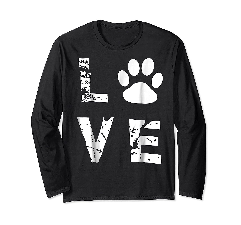 Love Animal Pet Dog Cat Paw Valentine S Day Funny T Shirt Long Sleeve T-shirt