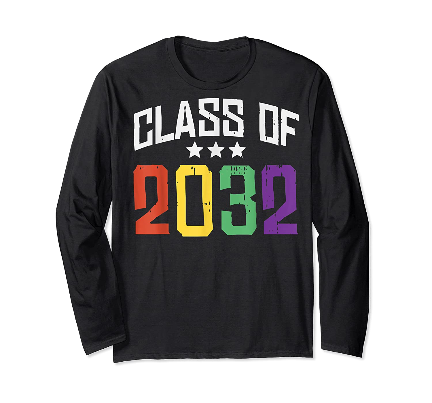 Class Of 2032 Color Stars Grow With Me Kindergarten Gift Shirts Long Sleeve T-shirt