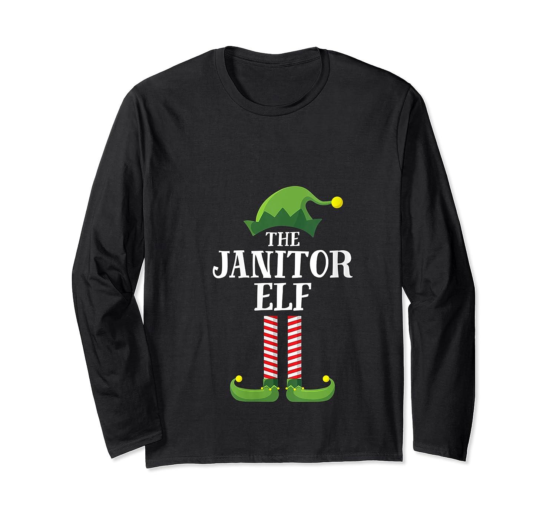 Janitor Elf Matching Family Group Christmas Party Pajama T-shirt Long Sleeve T-shirt