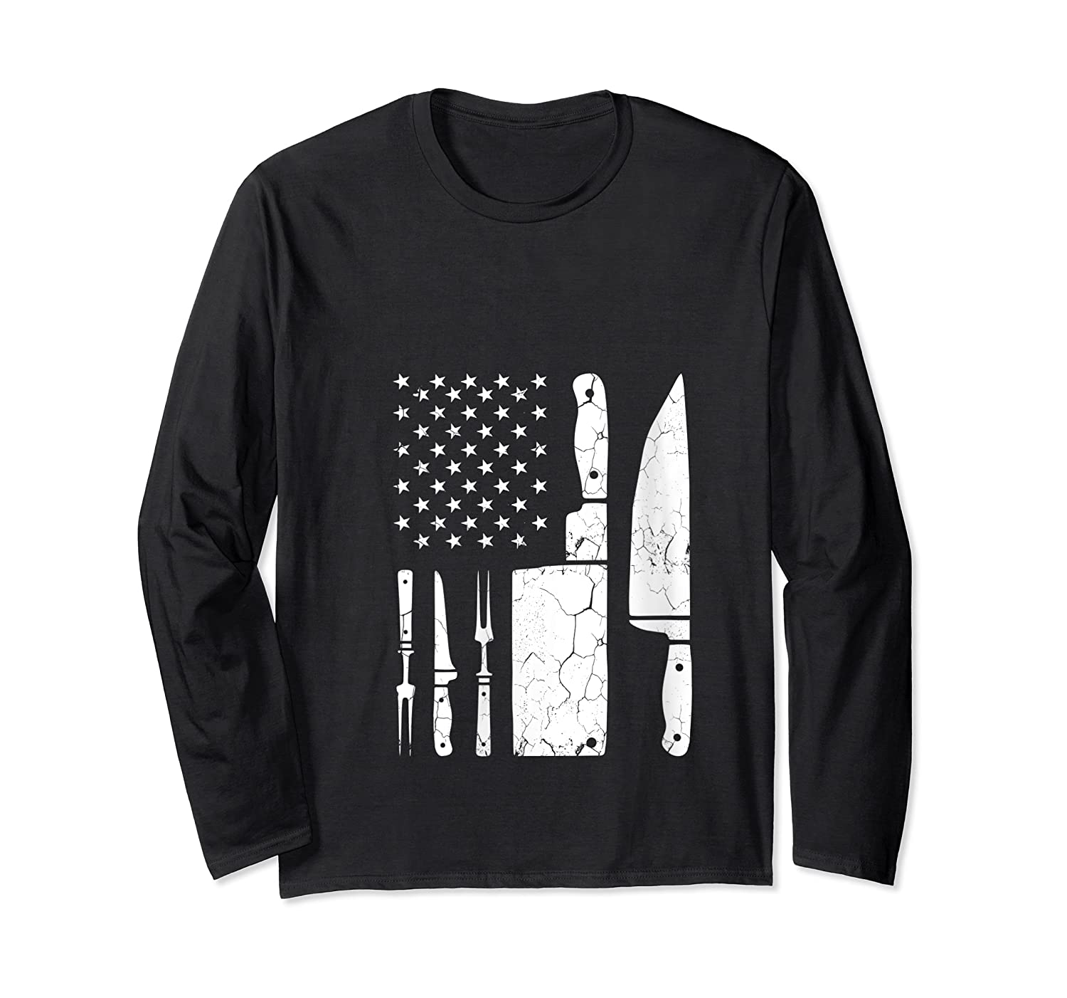 Chef Cooking American Flag Vintage Culinary Chefs Gifts T Shirt Long Sleeve T-shirt