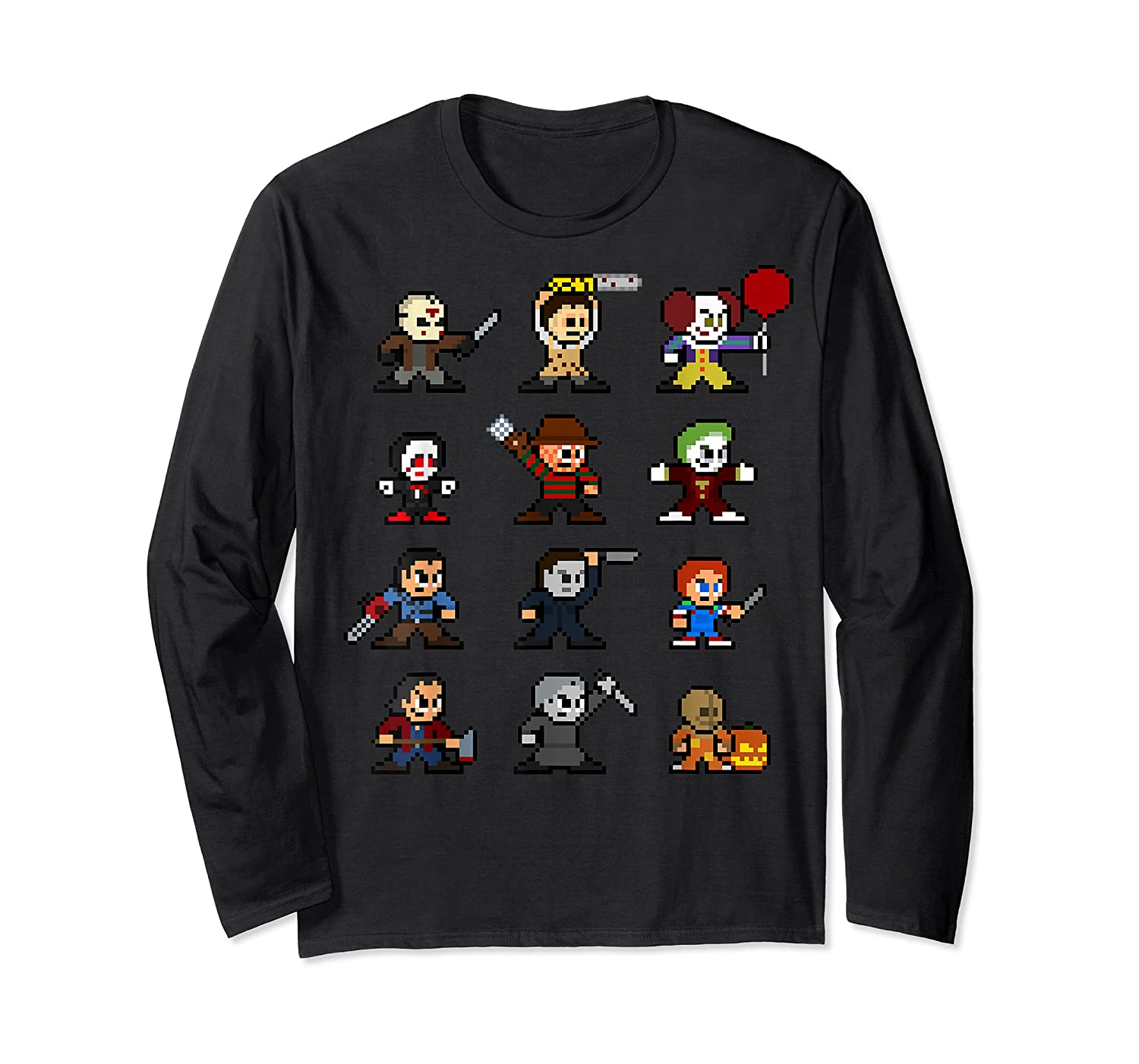 Friends Pixel Halloween Icons Scary Horror Movies T Shirt Long Sleeve T-shirt