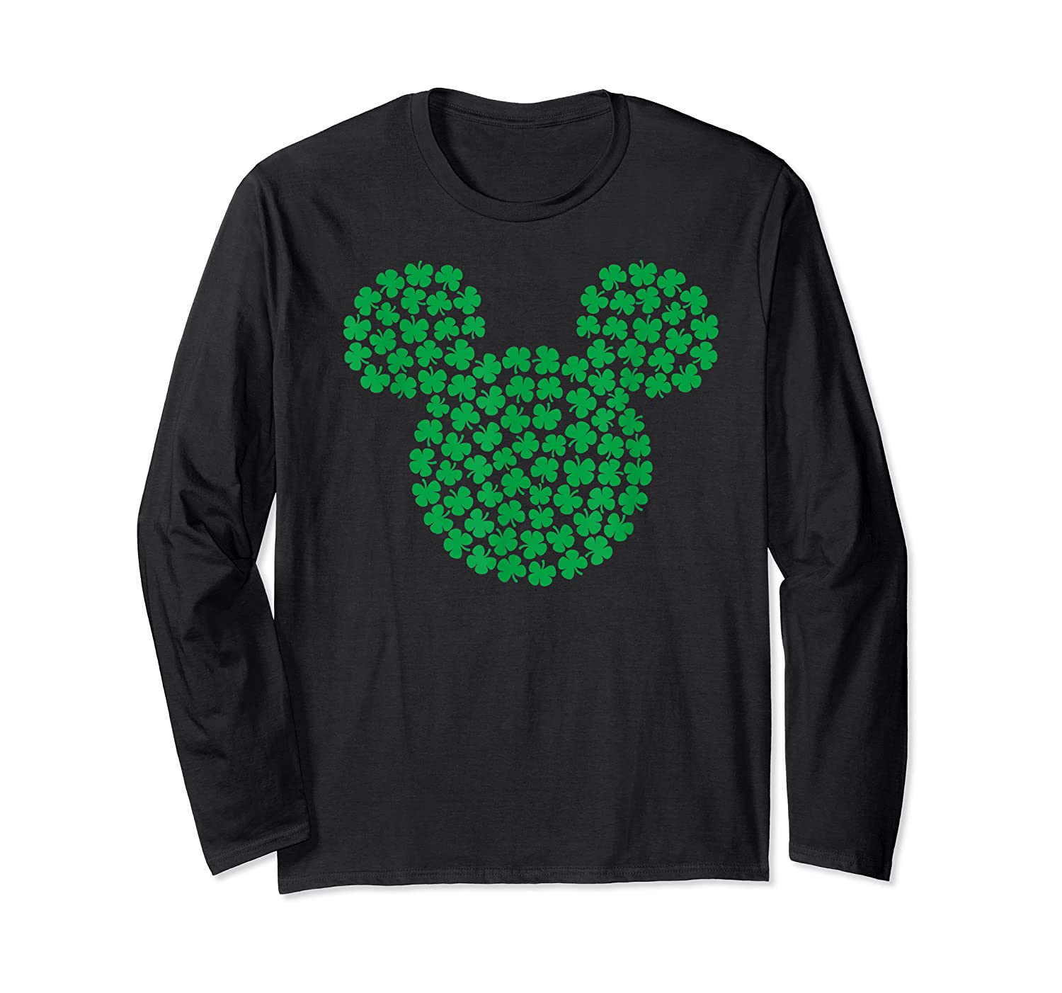 Disney Mickey Mouse Green Clovers St Patrick S Day T Shirt Long Sleeve T-shirt