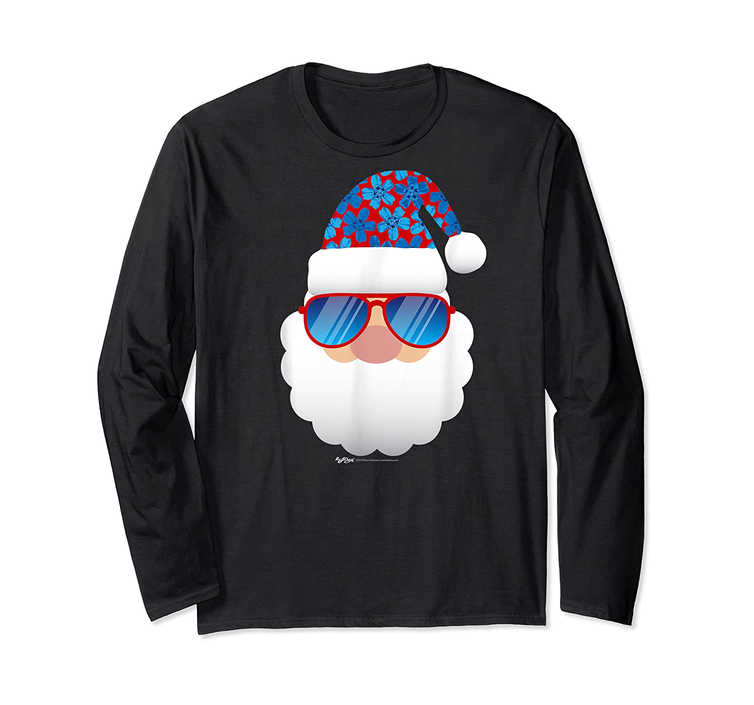 Cool Santa Emoticon In Sunglasses Christmas In July T Shirt Long Sleeve T-shirt
