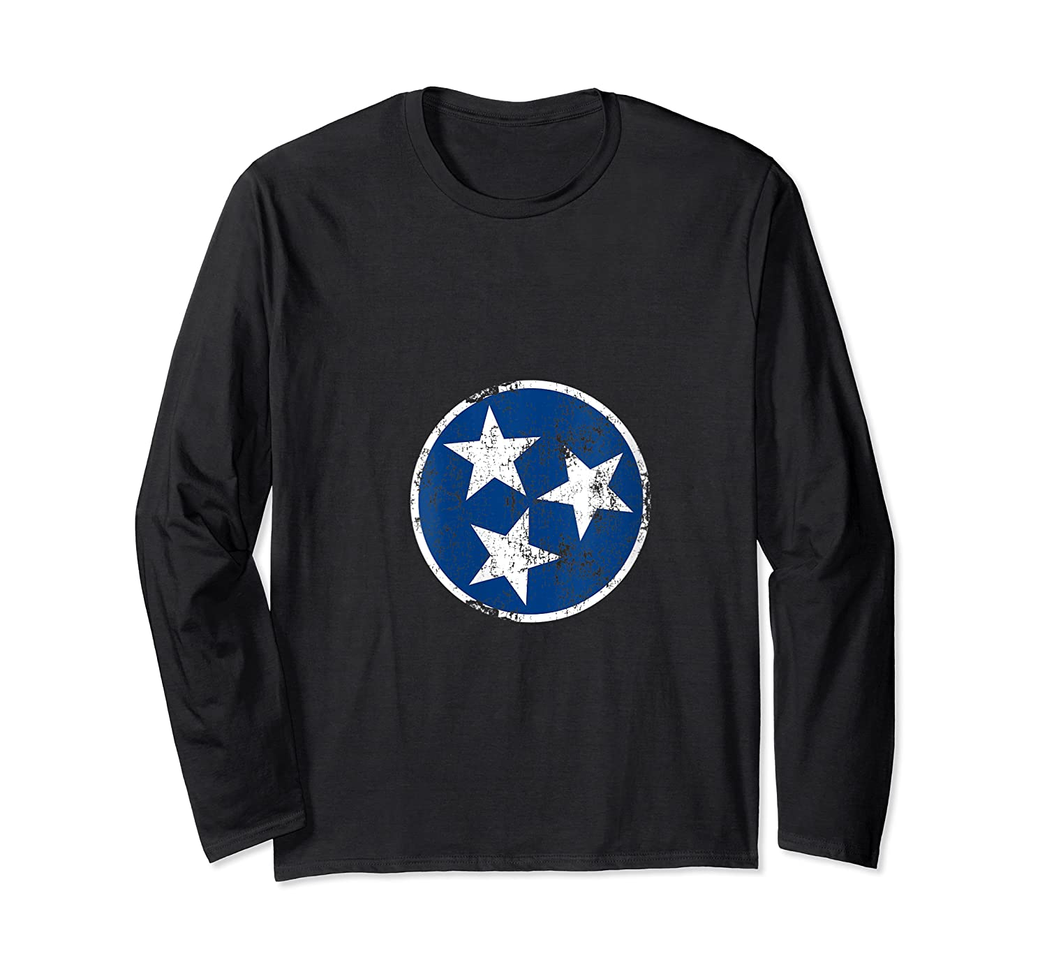 Tn 3 Star Distressed Blue And Tennessee State Flag Shirts Long Sleeve T-shirt