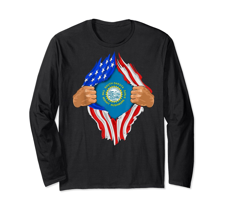 South Dakota Roots Inside State Flag American Proud Shirts Long Sleeve T-shirt