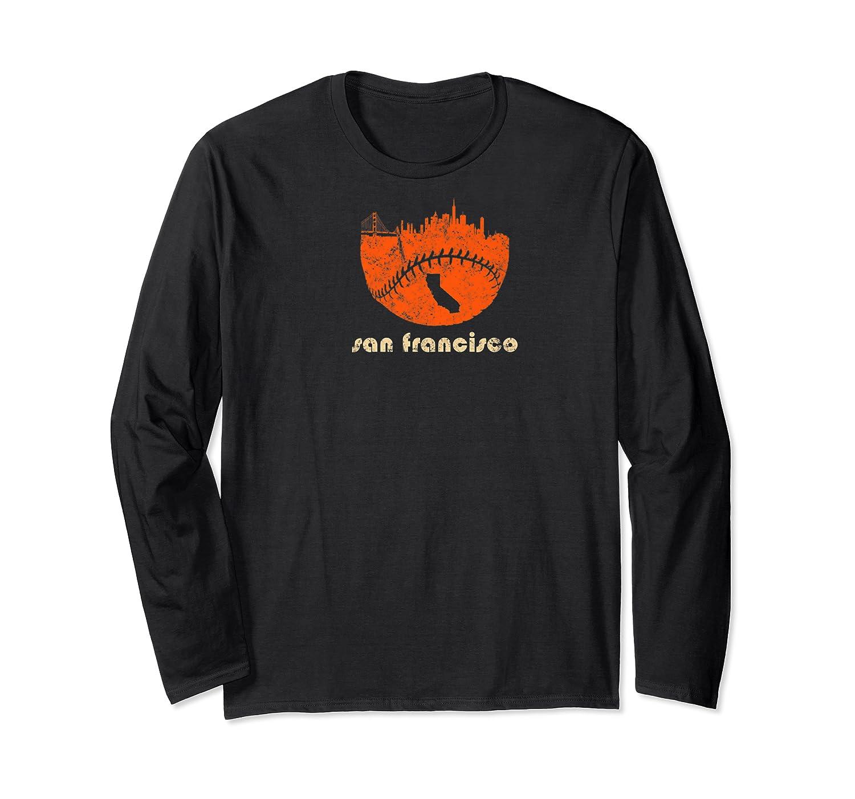 Retro San Francisco Baseball City Skyline Vintage Apparel Premium T Shirt Long Sleeve T-shirt