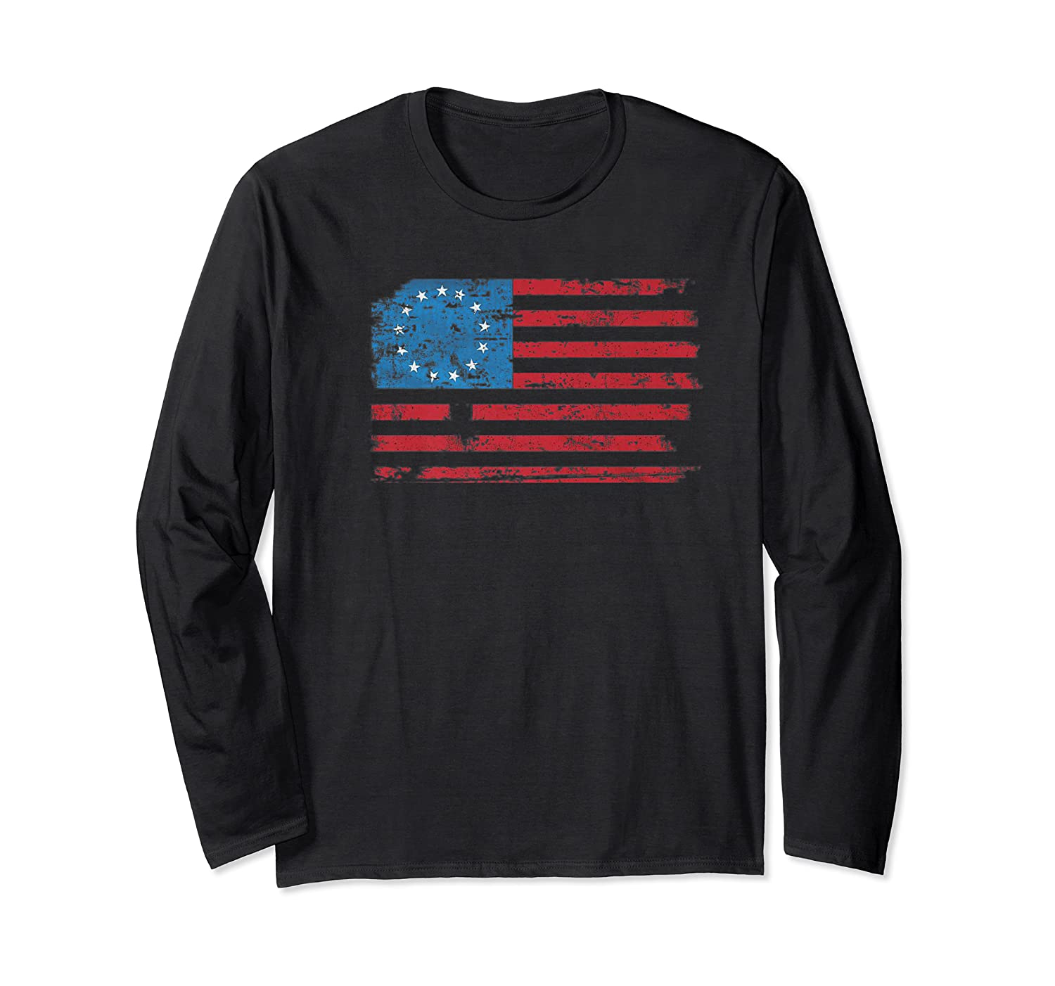 Distressed Betsy Ross Us American Flag Shirt For 4th Of July Premium T-shirt Long Sleeve T-shirt