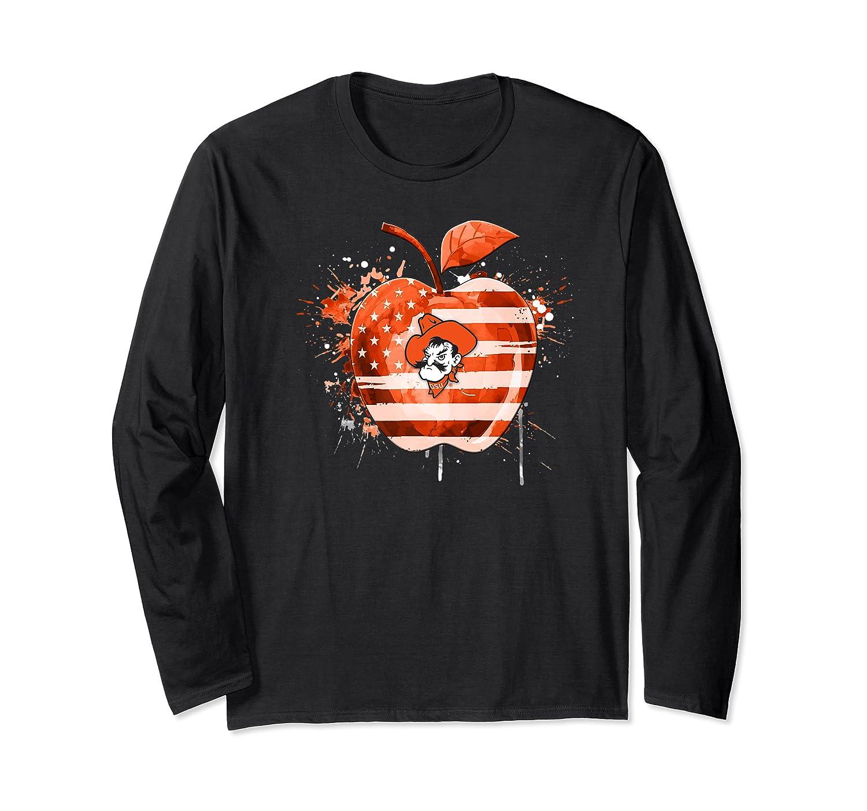 Oklahoma State Cow Nation Flag T Shirt Apparel Long Sleeve T-shirt