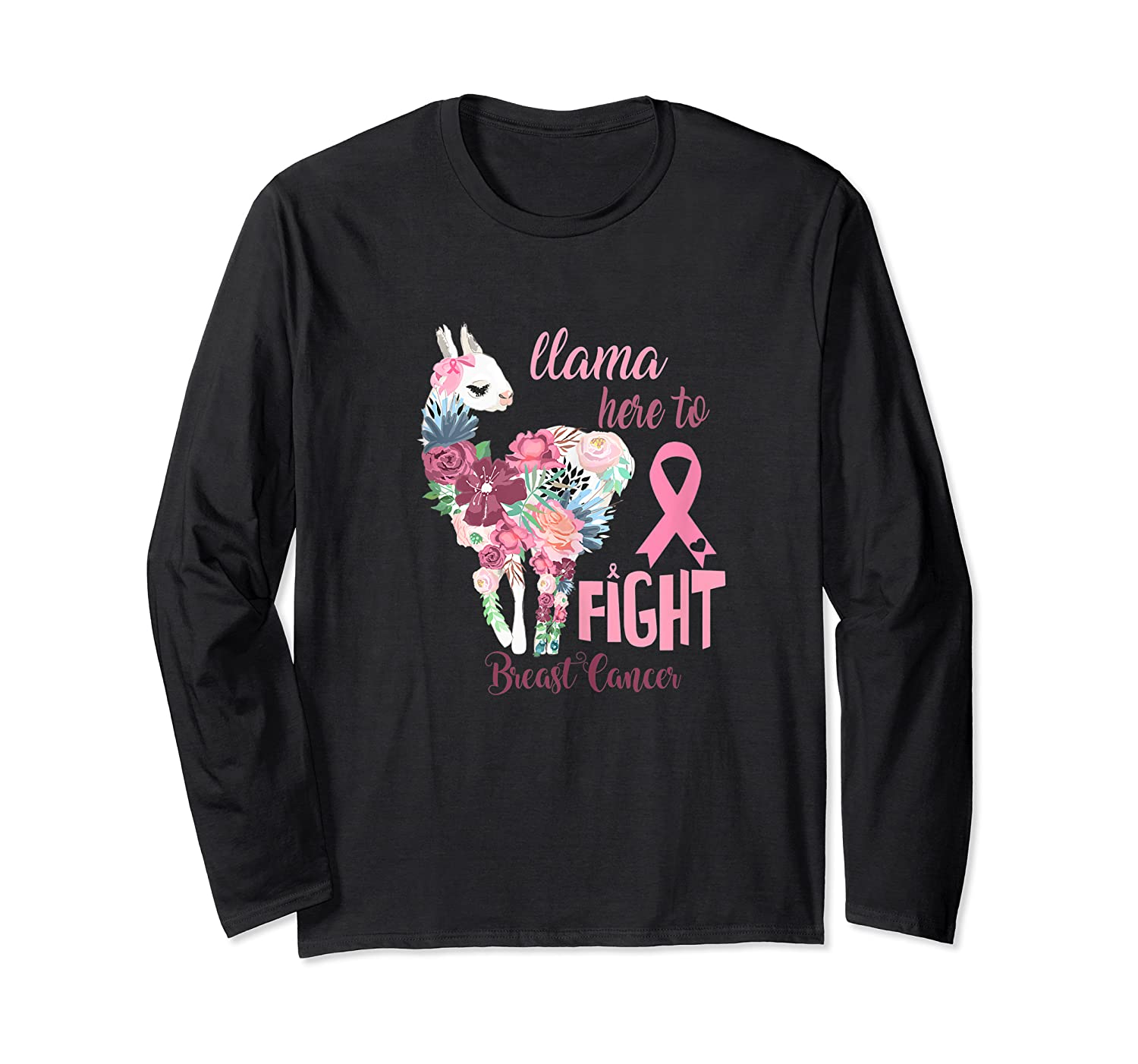 Floral Breast Cancer Awareness Month Here To Fight Tank Top Shirts Long Sleeve T-shirt
