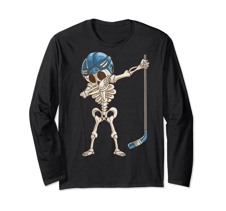 Dabbing Skeleton Hockey Halloween Gift Shirts Long Sleeve T-shirt