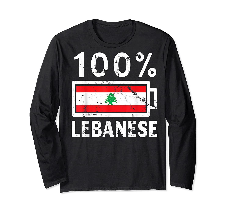 Lebanon Flag T Shirt 100 Lebanese Battery Power Tee Long Sleeve T-shirt