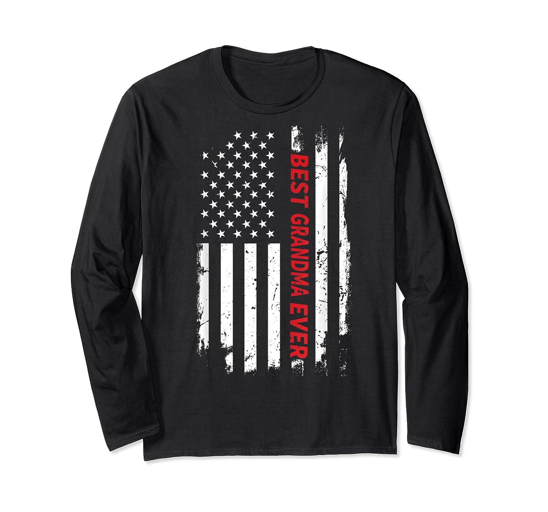 Best Grandma Ever T Shirt American Flag Mothers Day Gift Mom Long Sleeve T-shirt