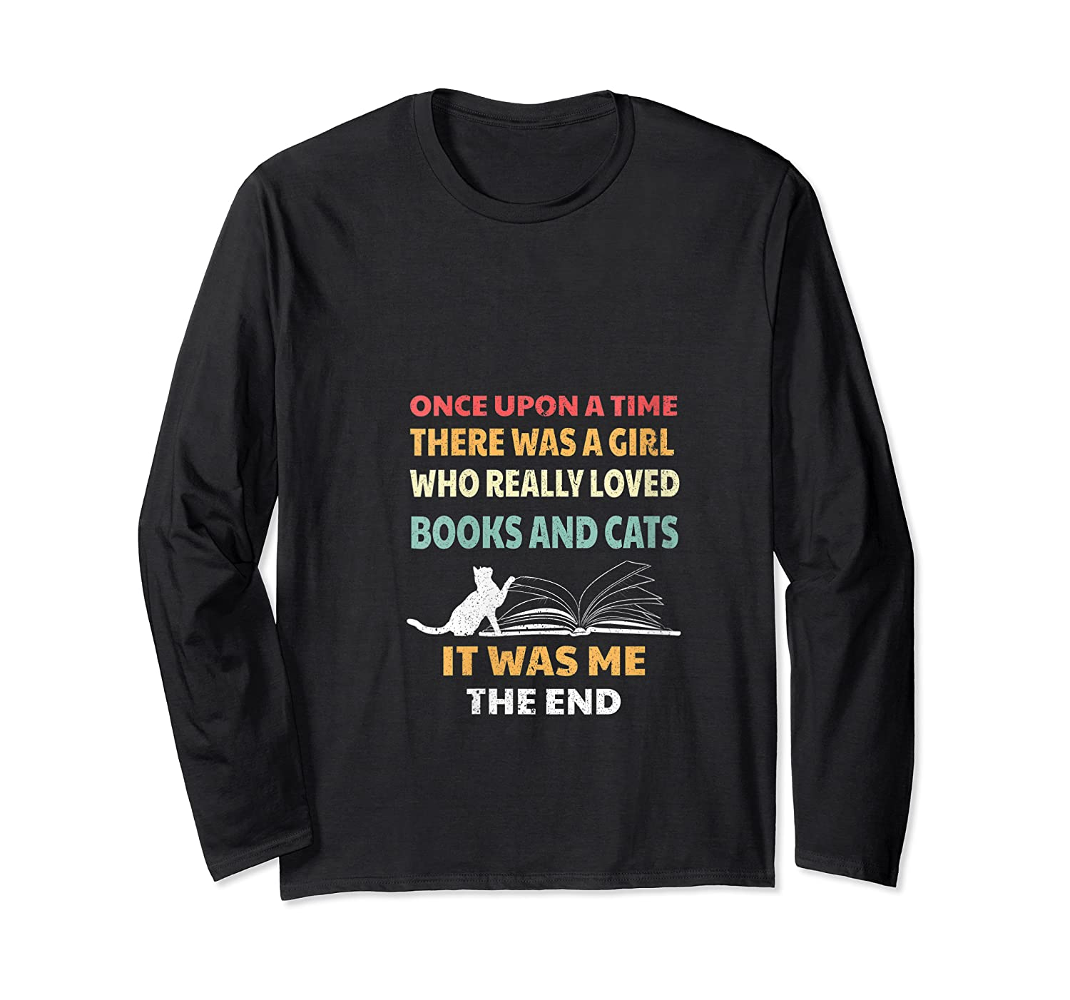 Bookworm Girl Cats Lover Reading And Pets Gift Out T Shirt Long Sleeve T-shirt