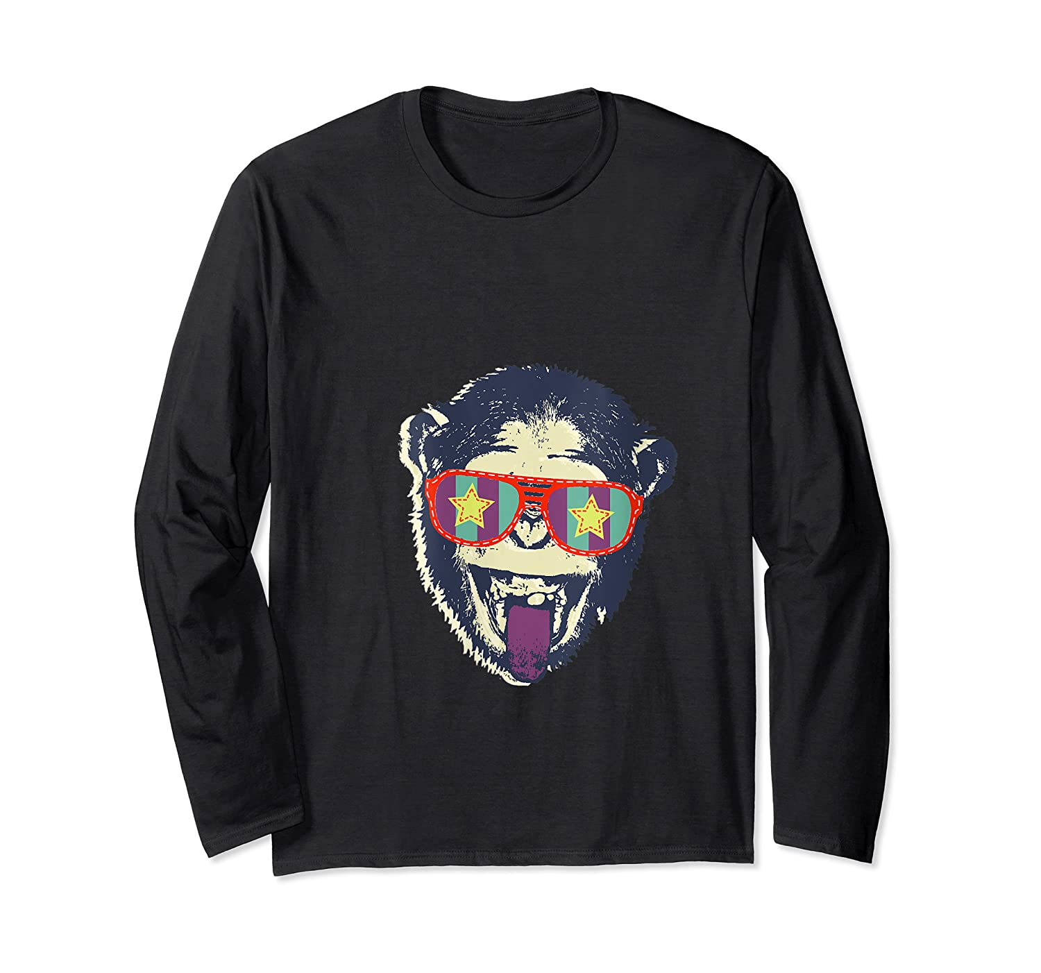 Crazy Monkey Chimp Funny And Vintage Music Love Shirts Long Sleeve T-shirt