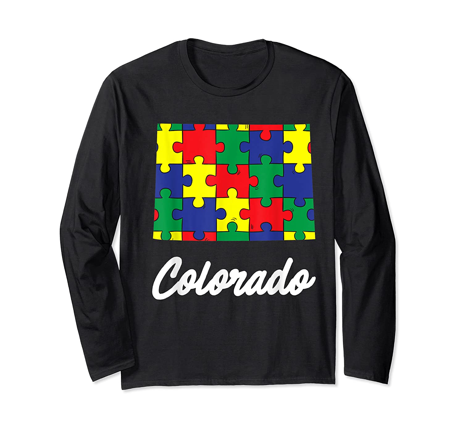 Autism Awareness Day Colorado Puzzle Pieces Gift Shirts Long Sleeve T-shirt