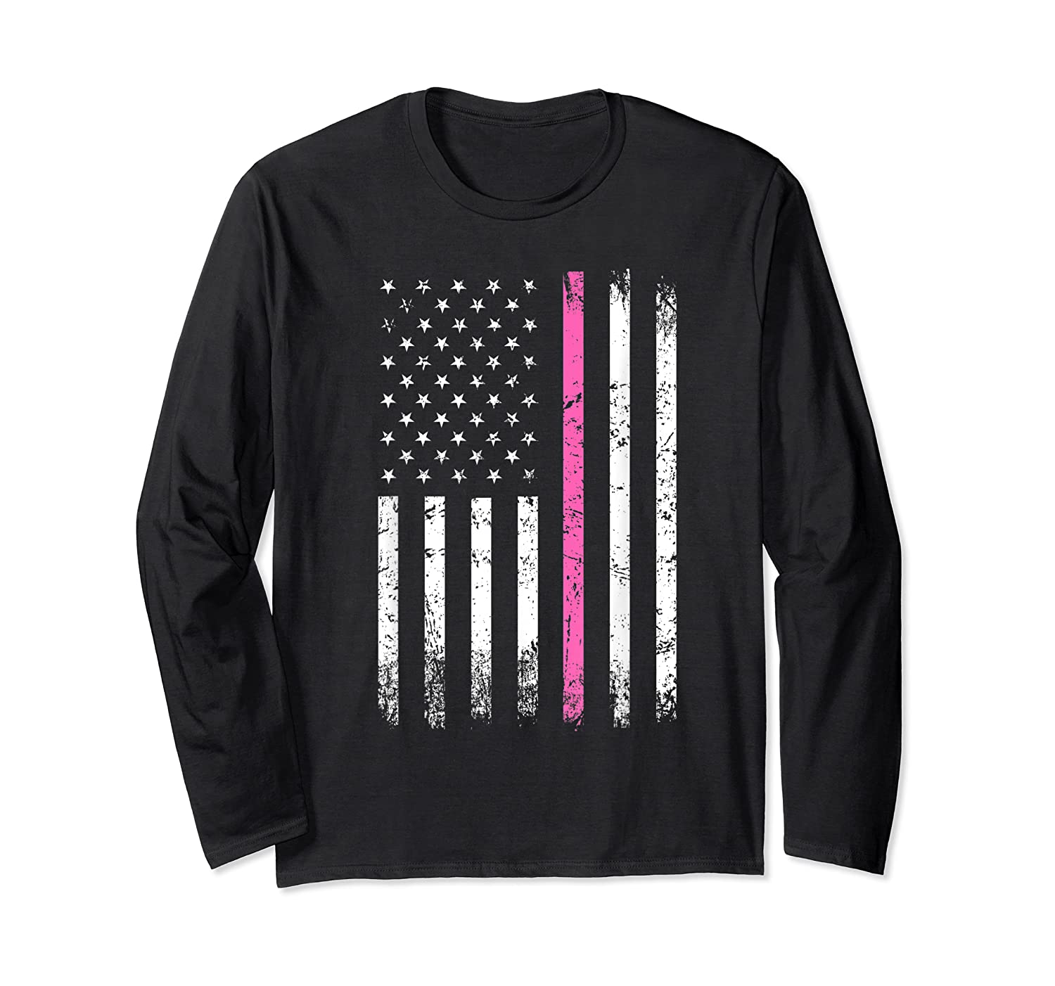 Stars Stripes Thin Pink Line Breast Cancer Awareness Month T Shirt Long Sleeve T-shirt