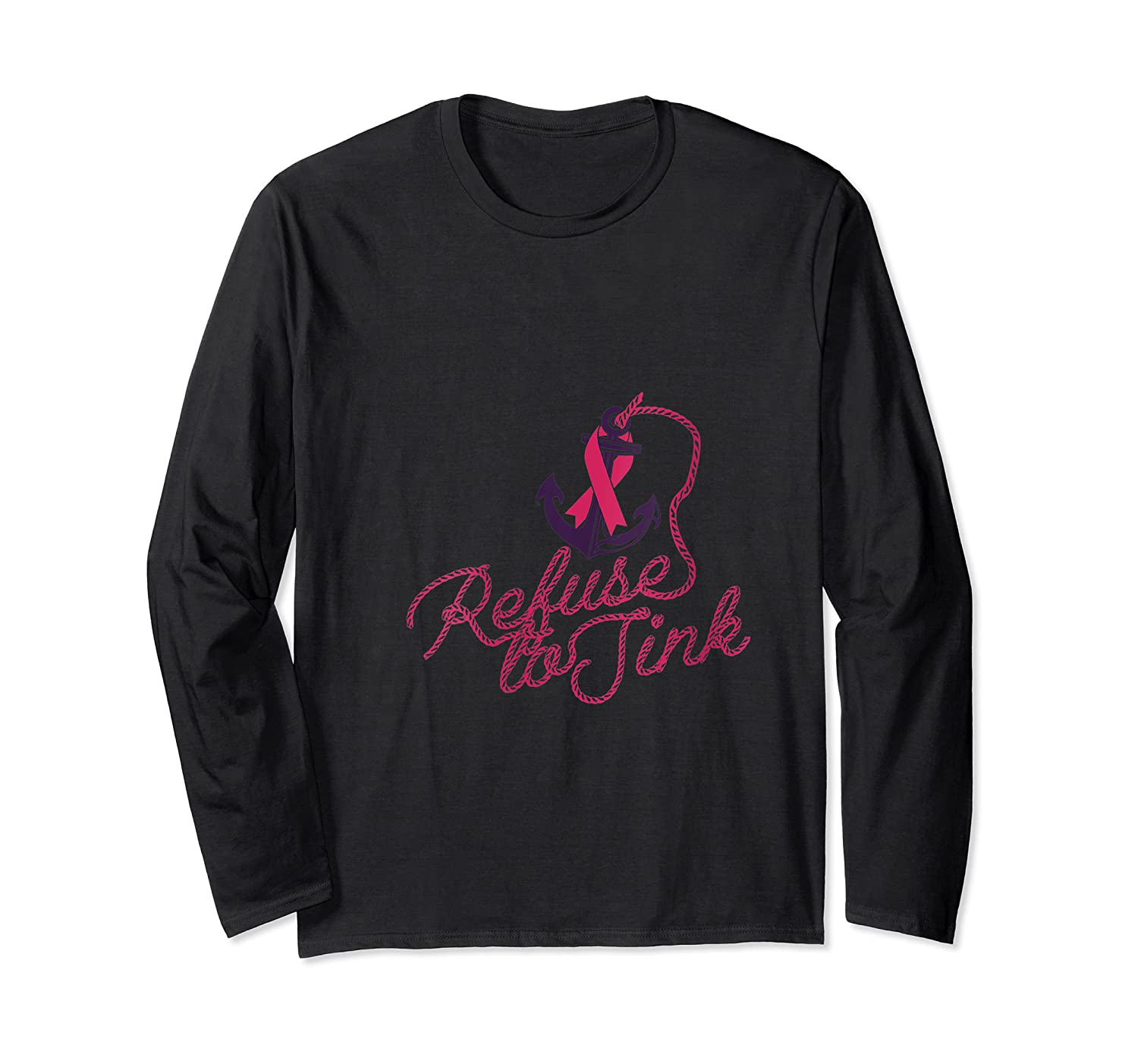Breast Cancer Awareness Month Campaign Anchor Pink Ribbon T Shirt Long Sleeve T-shirt