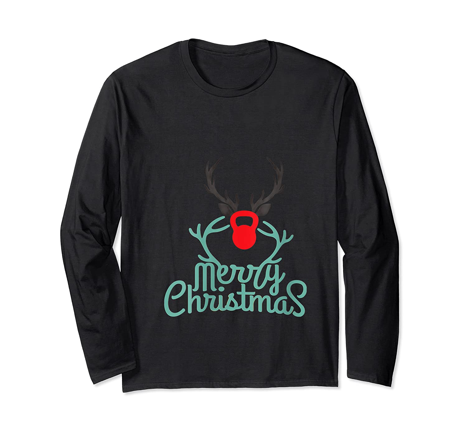 Merry Xmas Antlers Kettlebell Weightlifting Ness Workout Shirts Long Sleeve T-shirt