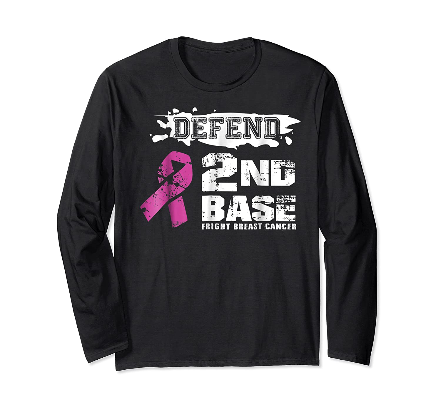 Defend 2nd Base Breast Cancer Awareness Tshirt Gifts Long Sleeve T-shirt