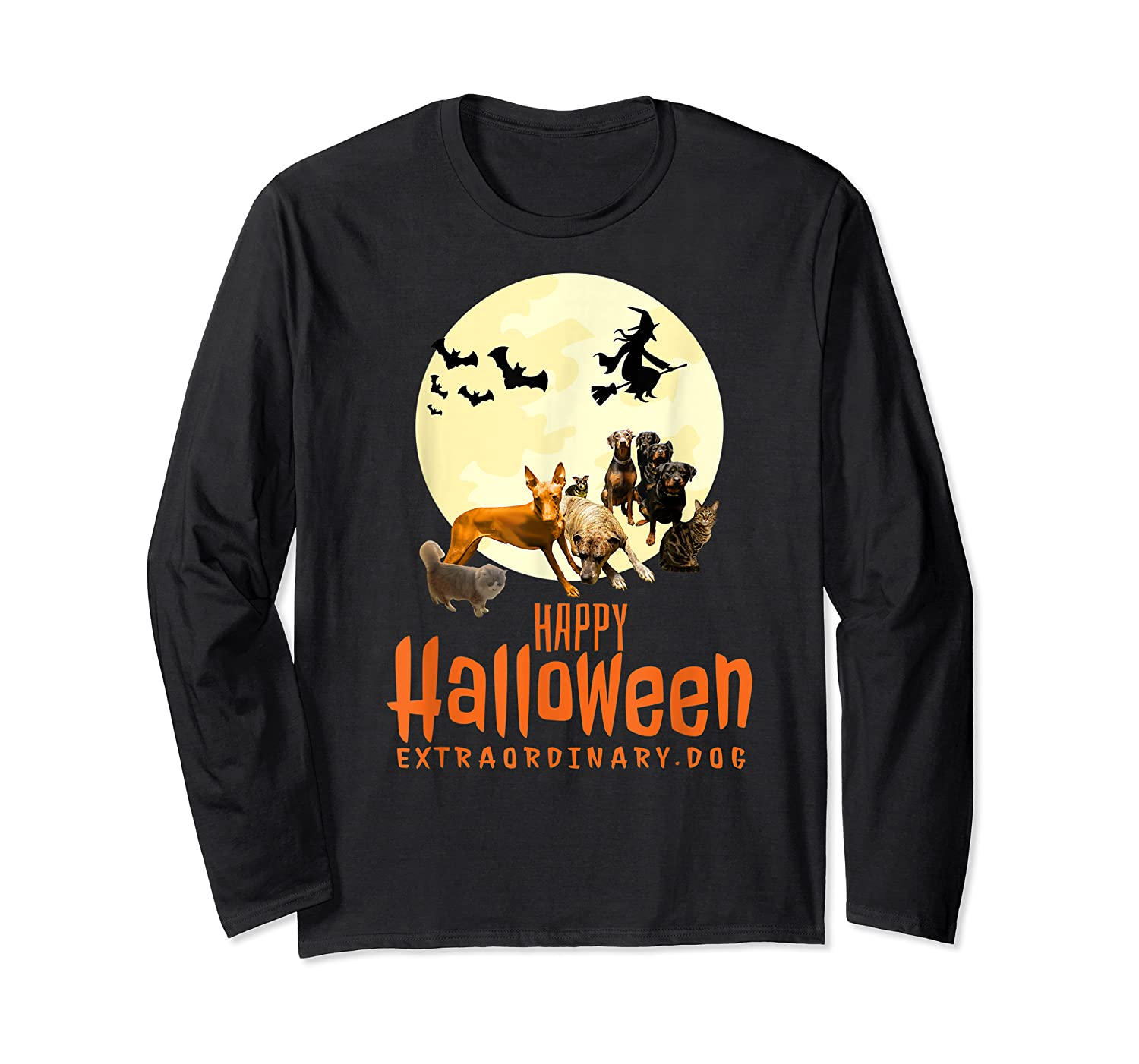 Happy Halloween With Extraordinary Dogs And Cats T Shirt Long Sleeve T-shirt