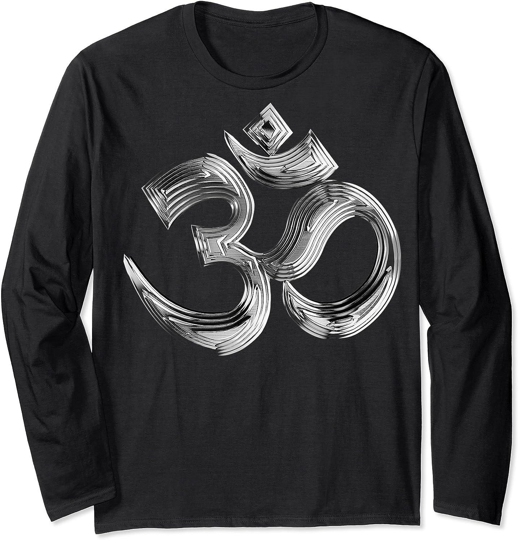 Om Yoga Chrom Zeichen   Buddha Vishnu Liebe Schwarz Weiß T-shirt Long Sleeve T-shirt