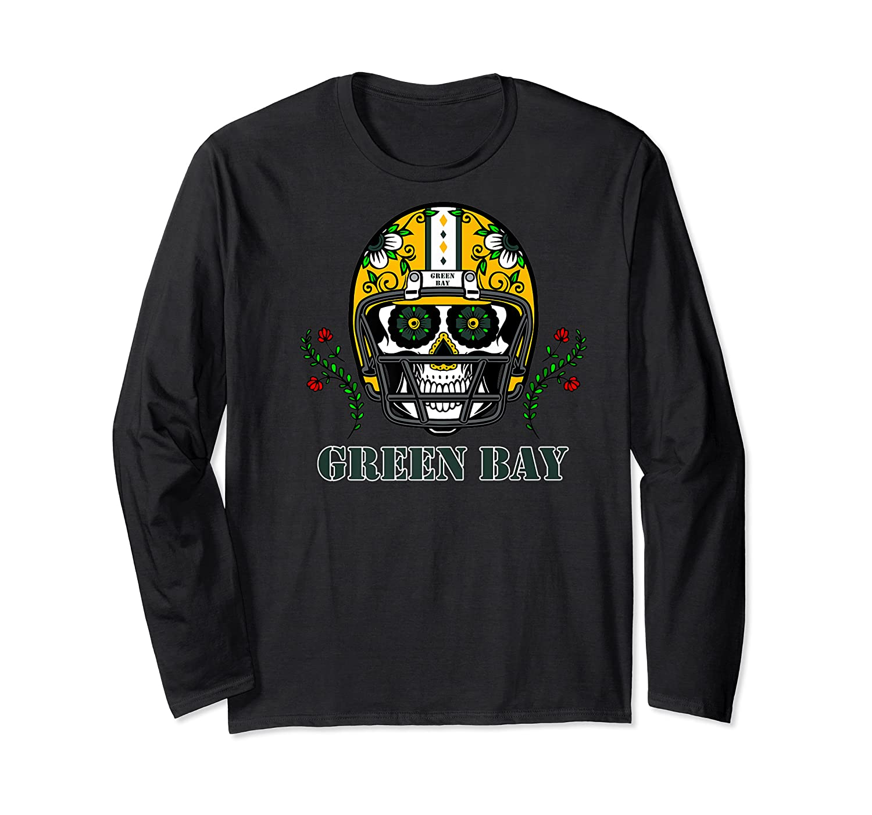 Green Bay Football Helmet Sugar Skull Day Of The Dead Premium T-shirt Long Sleeve T-shirt