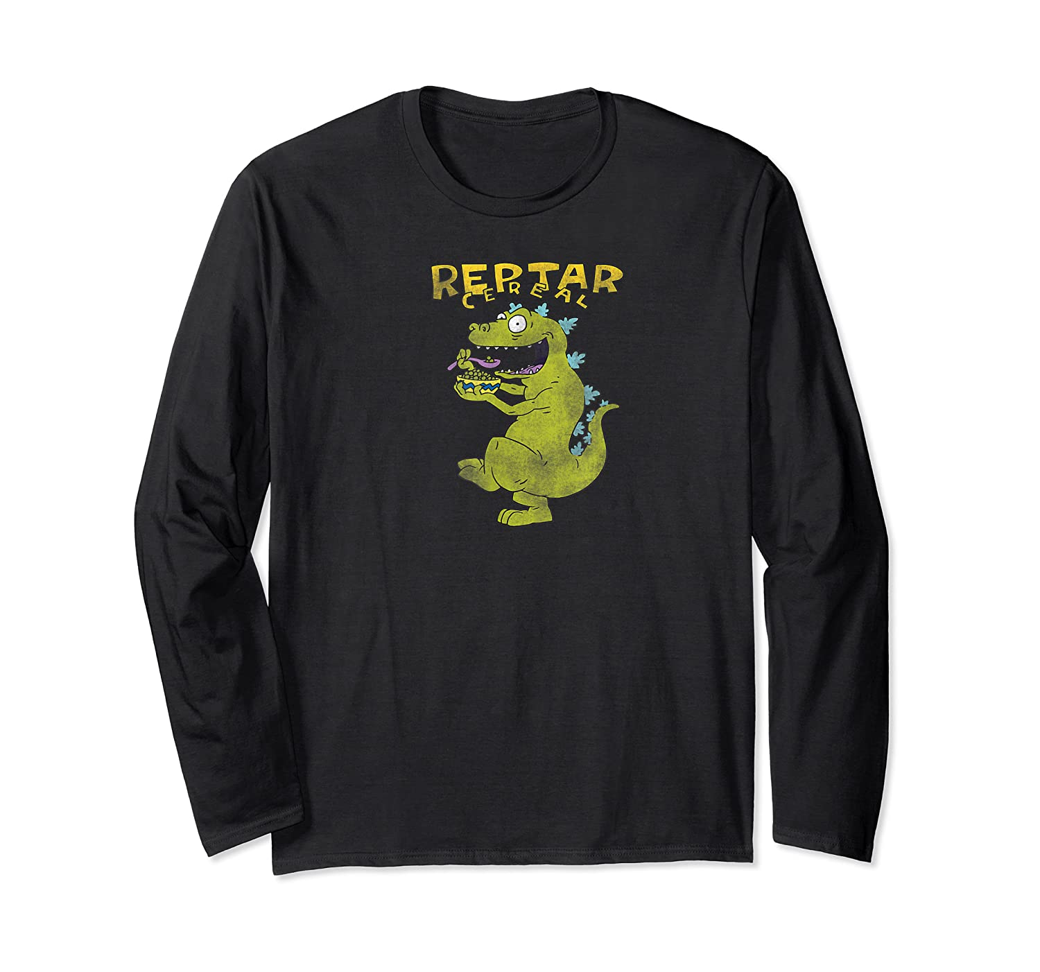 Reptar Eating Cereal With Text Reptar Cereal Shirts Long Sleeve T-shirt