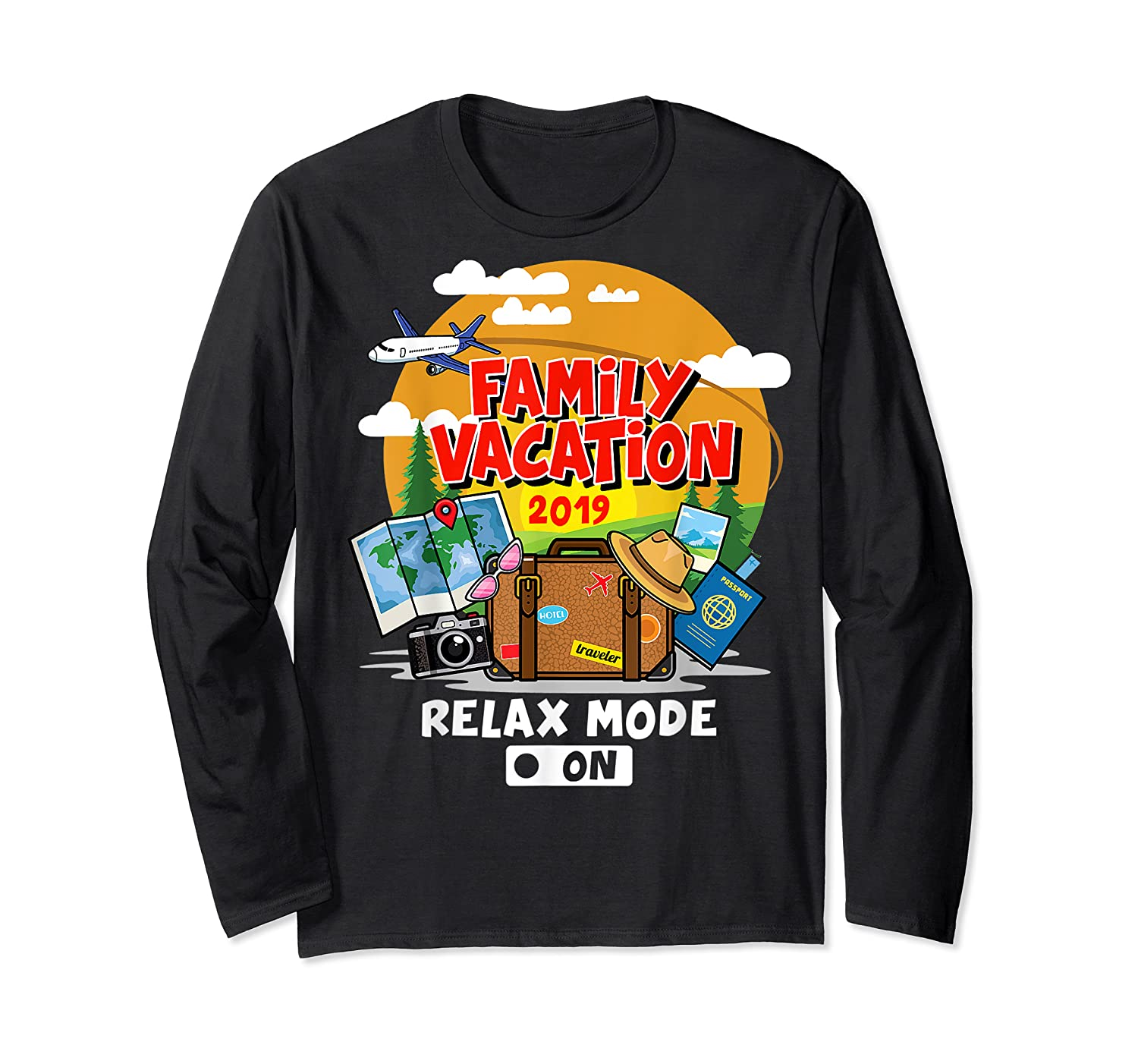 Family Vacation Trip 2019 Relax Mode On T Shirt Long Sleeve T-shirt