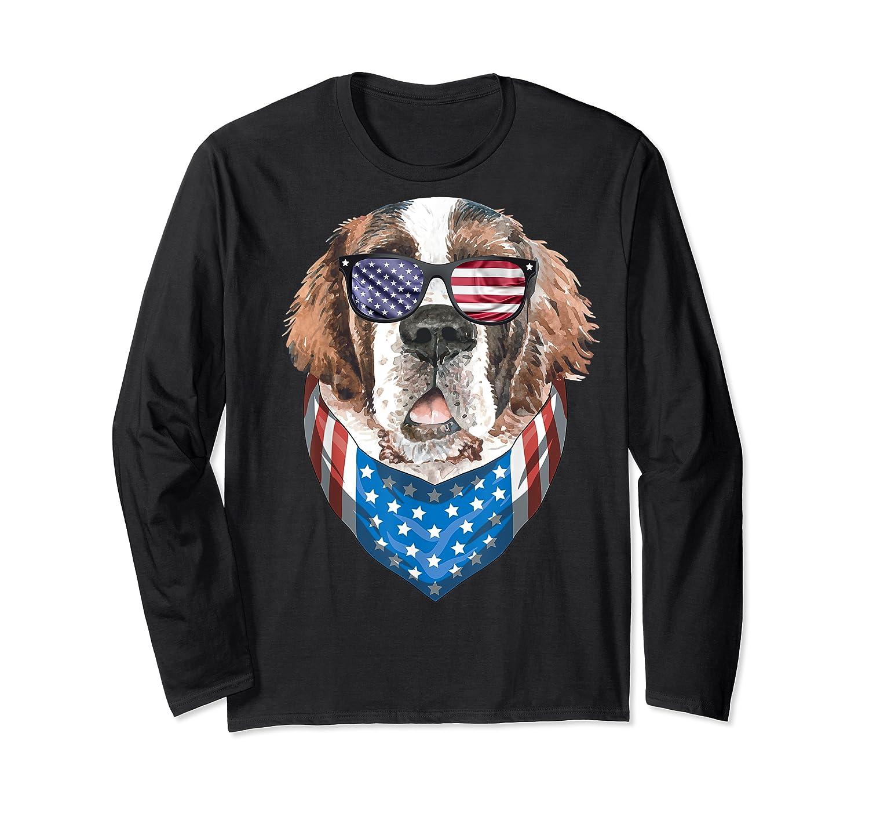 Fourth Of July Bernard American Flag July 4th St Bernard Dog T Shirt Long Sleeve T-shirt