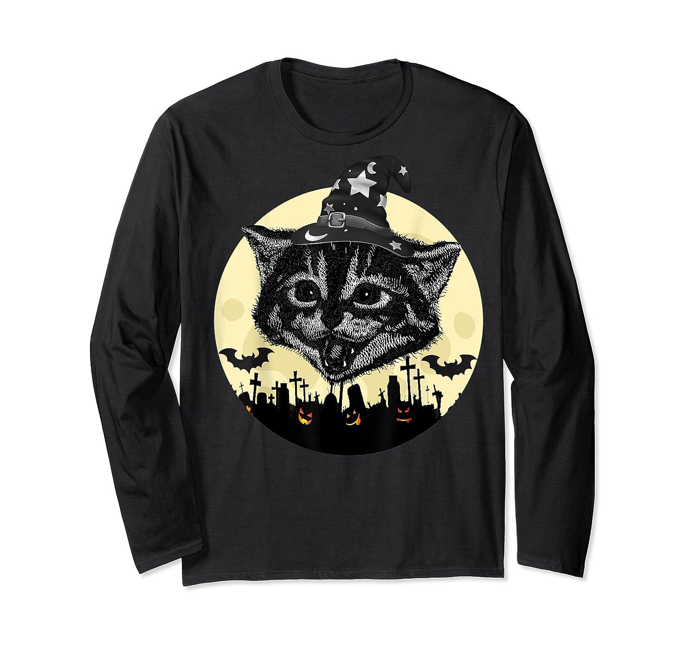 Vintage Scary Halloween Black Cat Witch Hat Moon Pumpkin Bat T Shirt Long Sleeve T-shirt