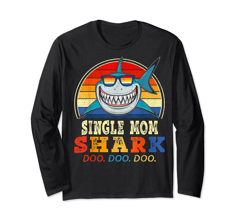 Vintage Single Mom Shark T Shirt Birthday Gifts For Family Long Sleeve T-shirt