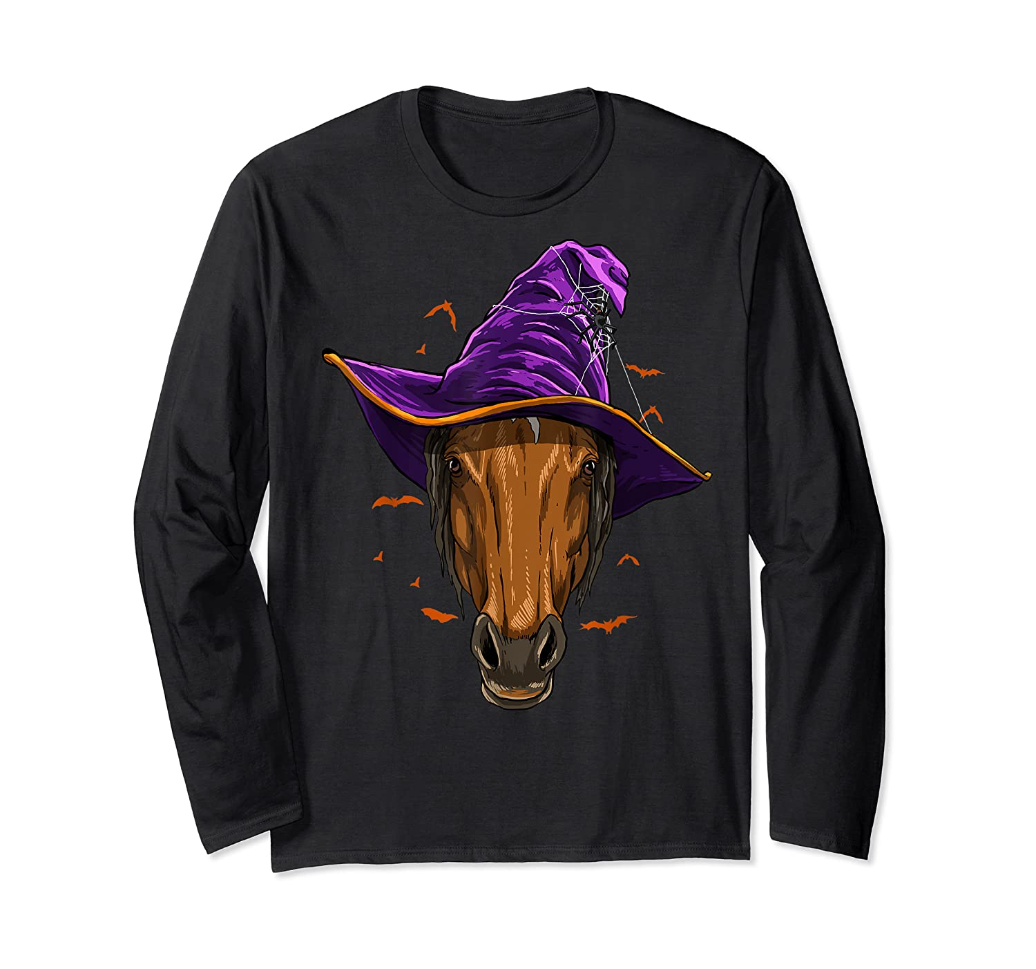 Horse Witch Hat Funny Halloween Gifts Horse Lover Whisperer T Shirt Long Sleeve T-shirt