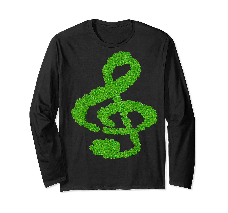 Music Note Shamrock Funny St Saint Patrick S Day T Shirt Long Sleeve T-shirt