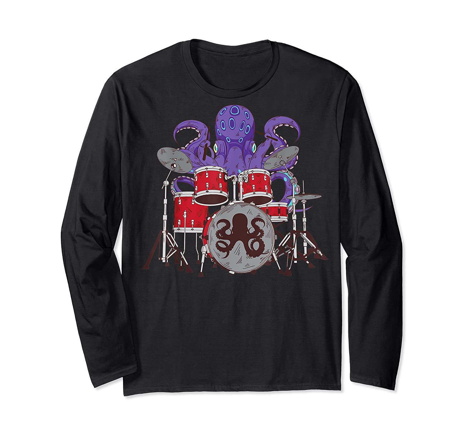 Octopus Drumming Cute Sea Drummer Lover Funny Gift Shirts Long Sleeve T-shirt