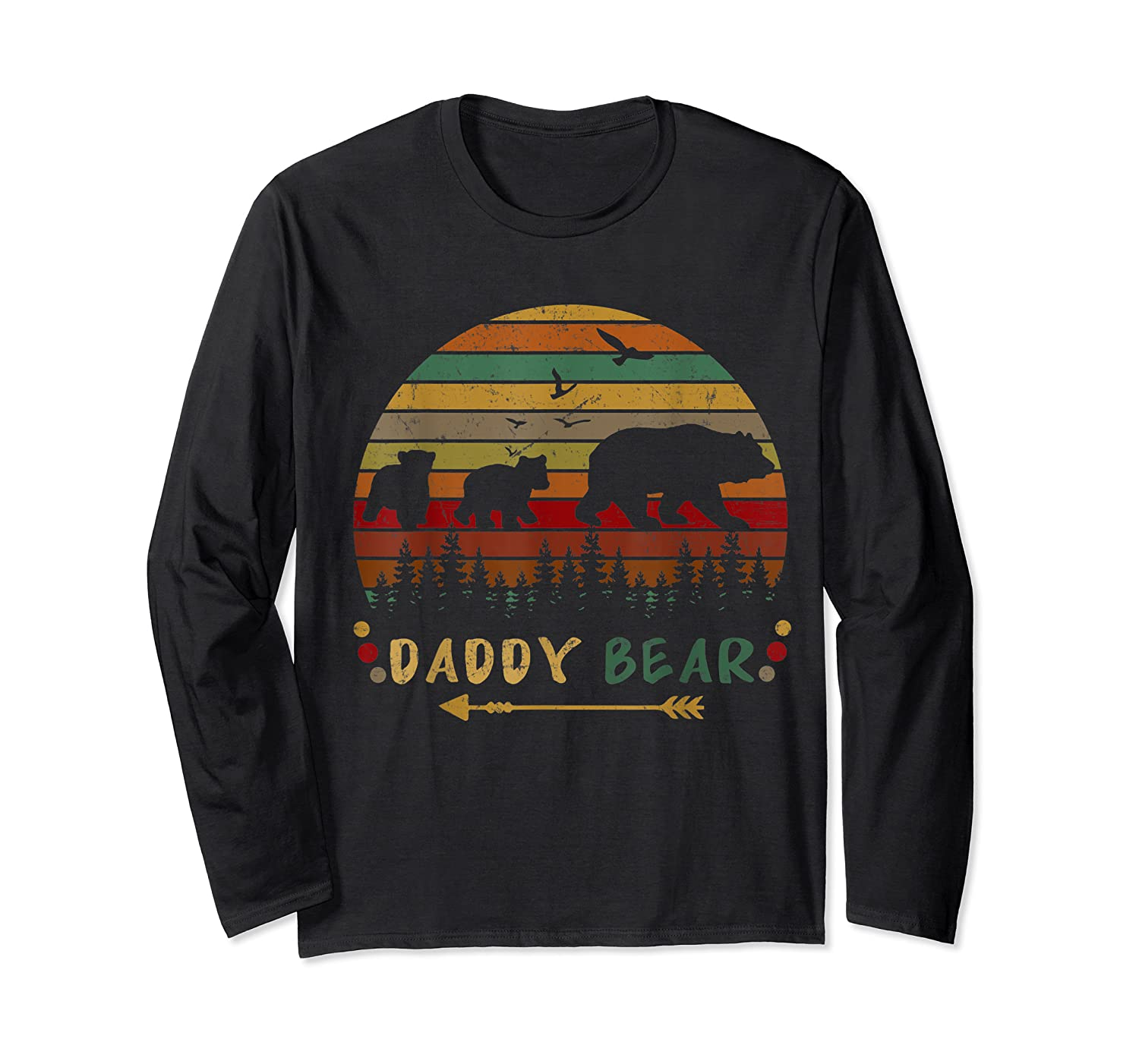 Daddy Bear With Two Cups Retro Gift For Father S Day T Shirt Long Sleeve T-shirt