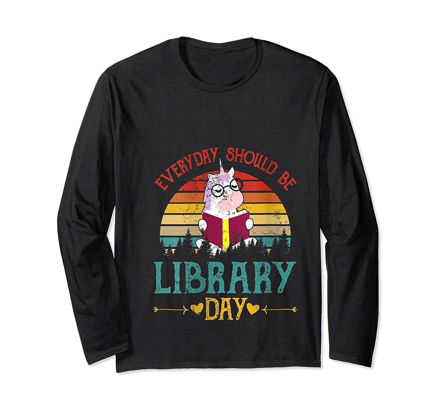 Vintage Everyday Should Be Library Day Unicorn Reading Book T Shirt Long Sleeve T-shirt
