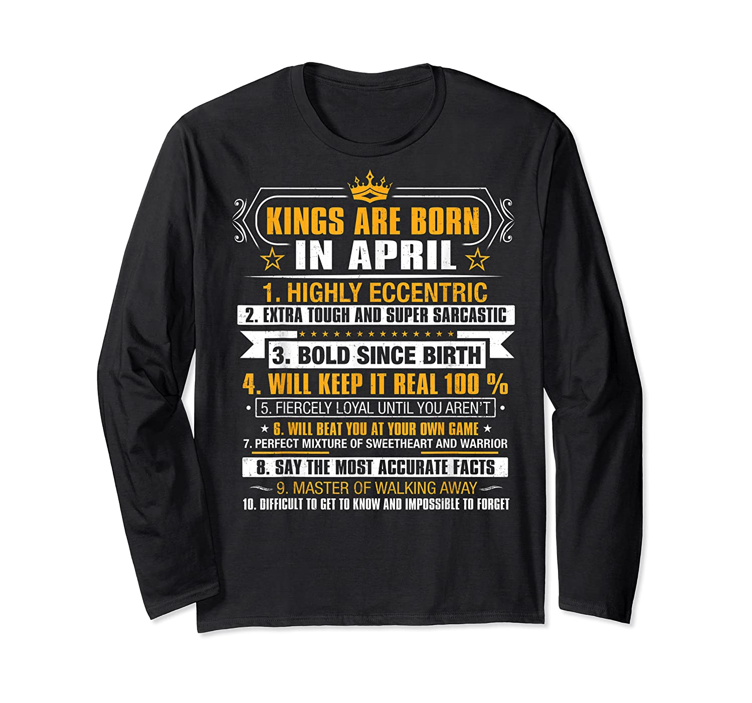 Kings Are Born In April Vintage Birthday Shirts Long Sleeve T-shirt