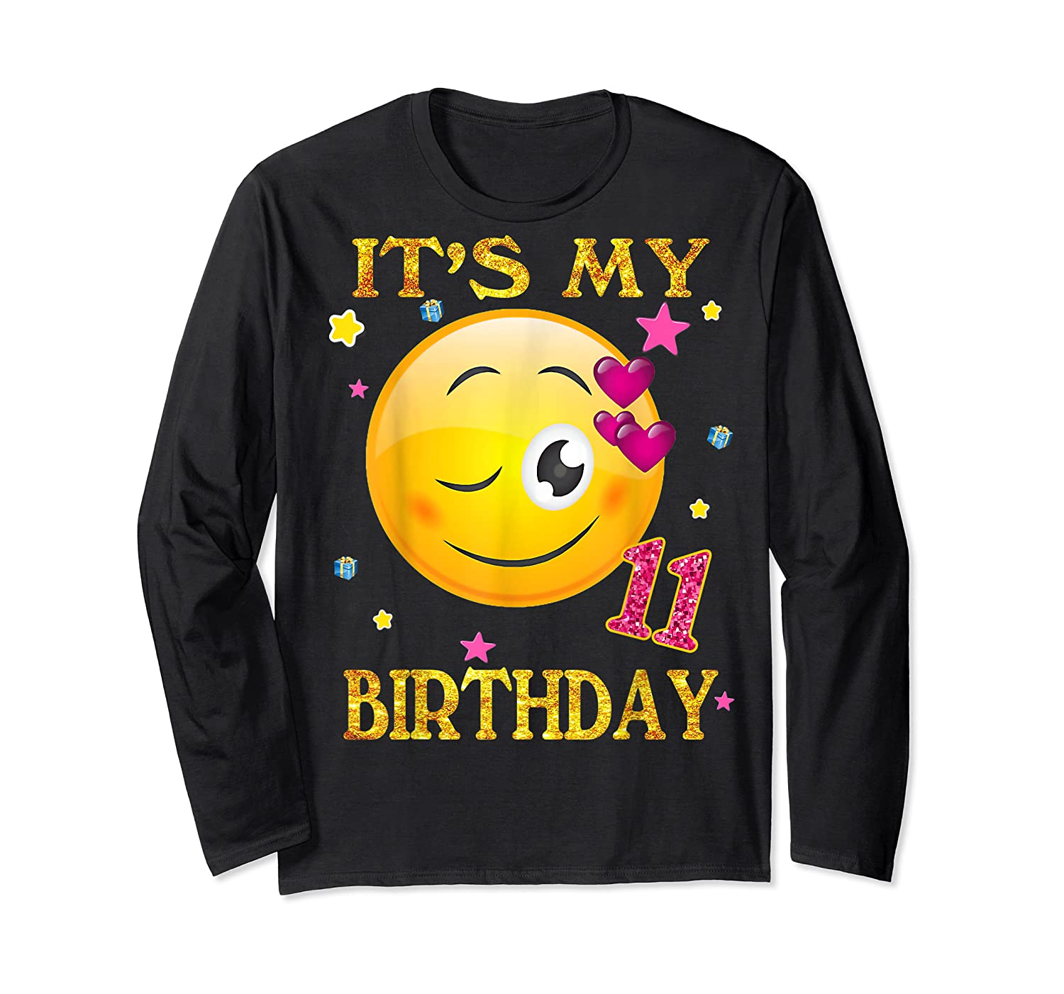 It's My 11th Birthday Girl 11 Years Old Gift Cute Face Shirts Long Sleeve T-shirt