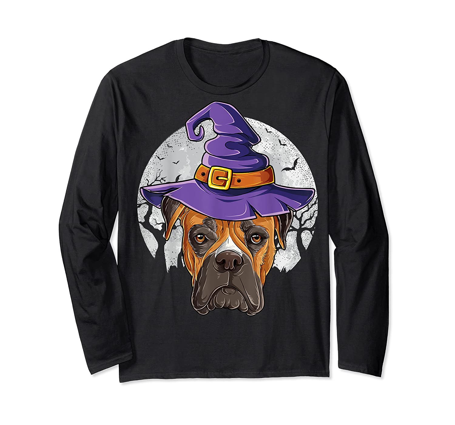Boxer Witch Hat Funny Halloween Gifts Dog Lover Girls T-shirt Long Sleeve T-shirt