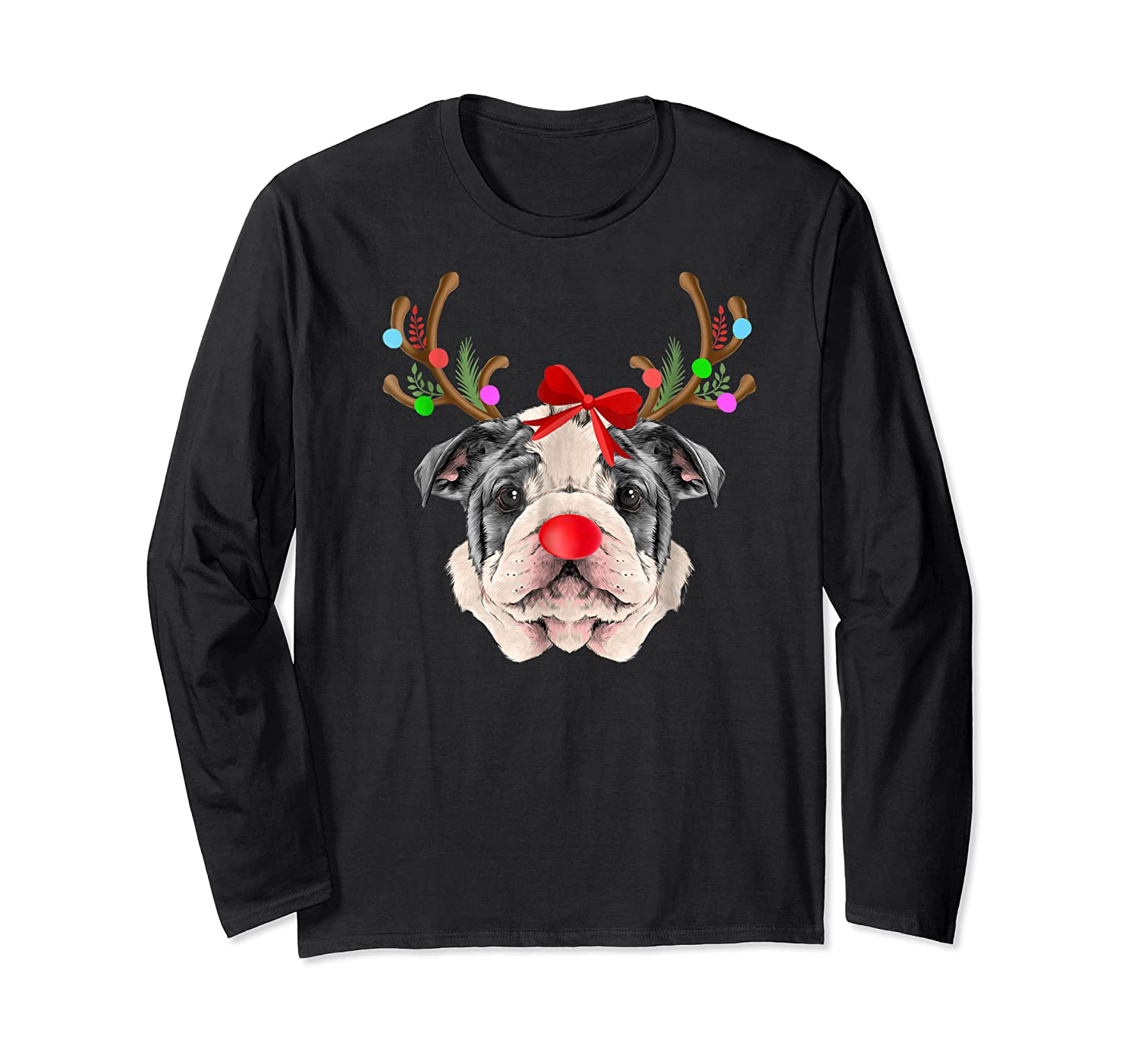 Funny Bulldogs With Antlers Light Christmas Shirts Long Sleeve T-shirt