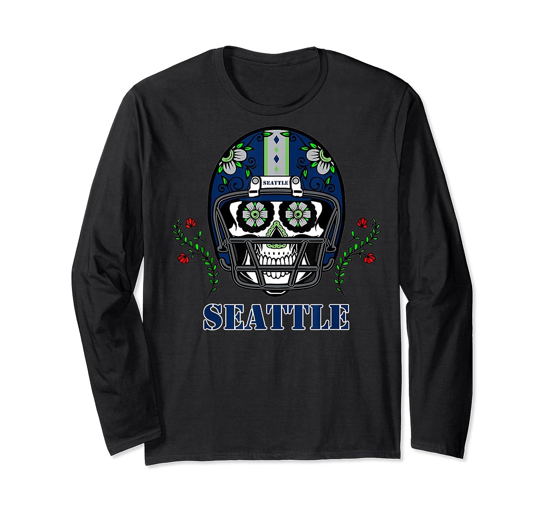 Seattle Football Helmet Sugar Skull Day Of The Dead T Shirt Long Sleeve T-shirt